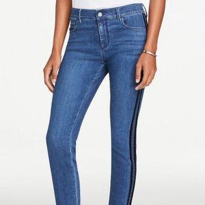 Ann Taylor velvet striped skinny jeans mid indigo